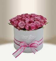 Luxury floral silver box with roses round - Get flowers in Prague