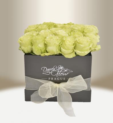 Luxury flower box with roses black square